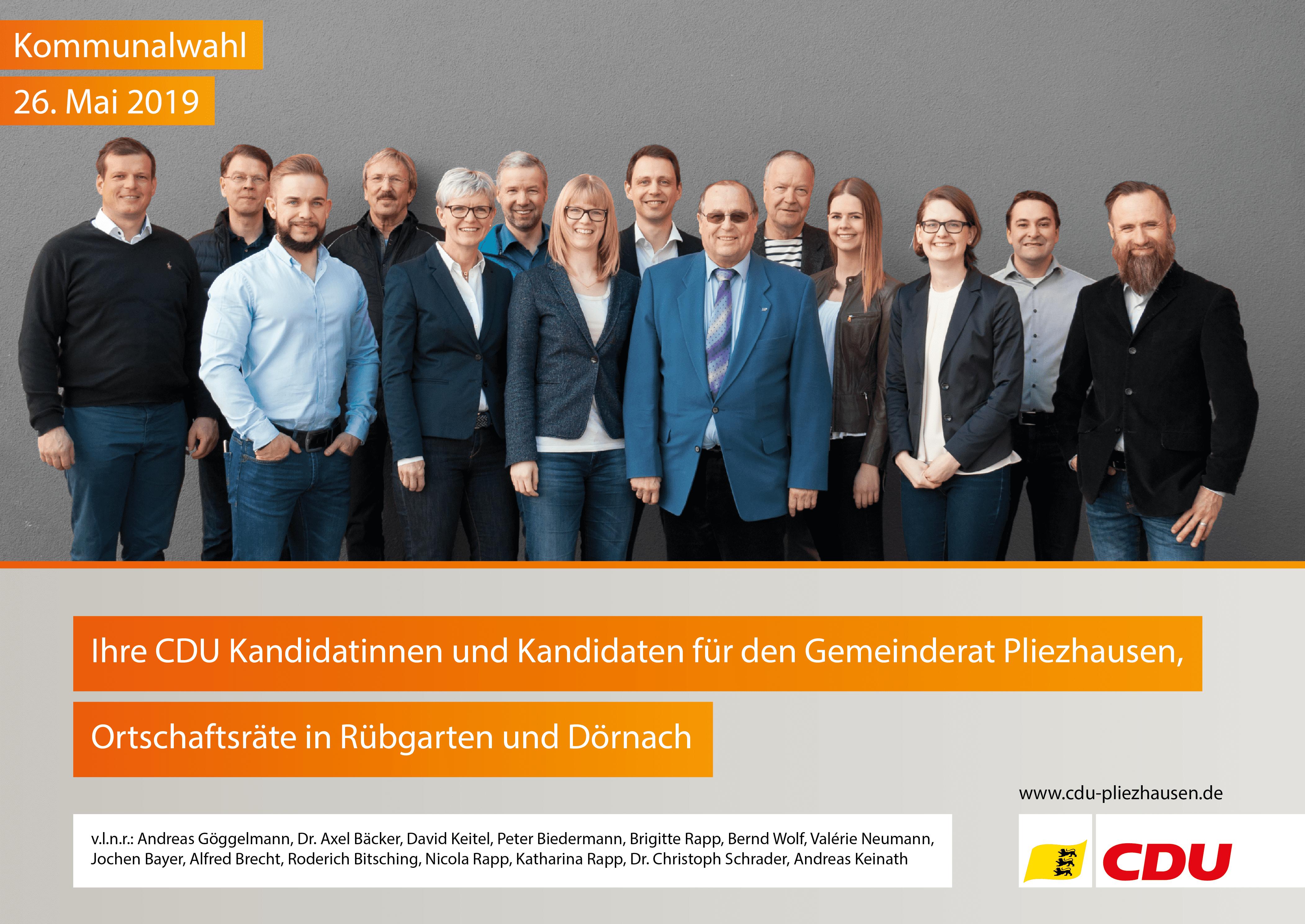 Gruppenbild CDU Kandidaten und Kandidatinnen zur Kommunalwahl