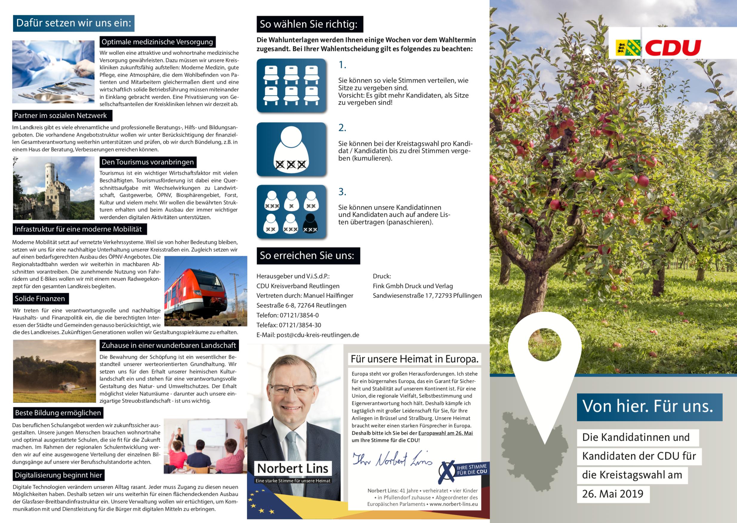 Kreistagswahl 2019 Flyer Vorderseite